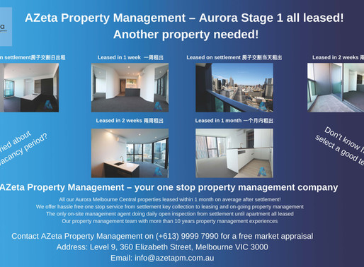 Aurora Stage 1 all leased! Another property needed!
