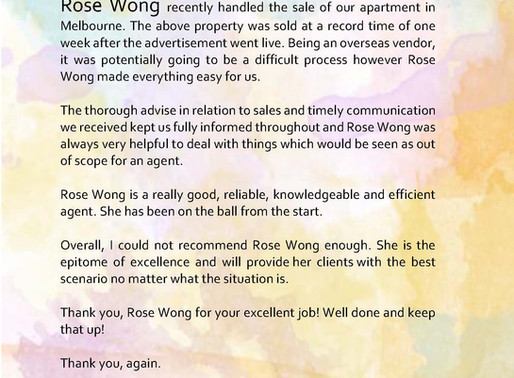 Owner's Testimonial for the recent sale of the apartment in Melbourne