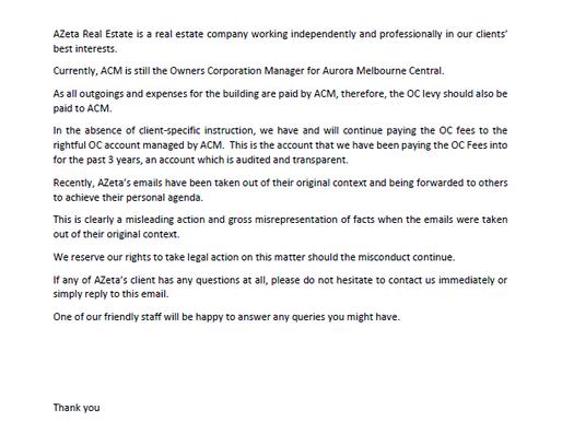 Clarification Statement - Aurora Melbourne Central OC levy (澄清声明- 极光大厦物业管理费)