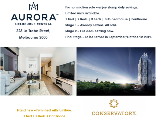 Aurora Melbourne Central / Conservatory Melbourne - Apartments for sale!