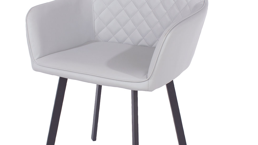 grey PU upholstered armchairs with black metal legs