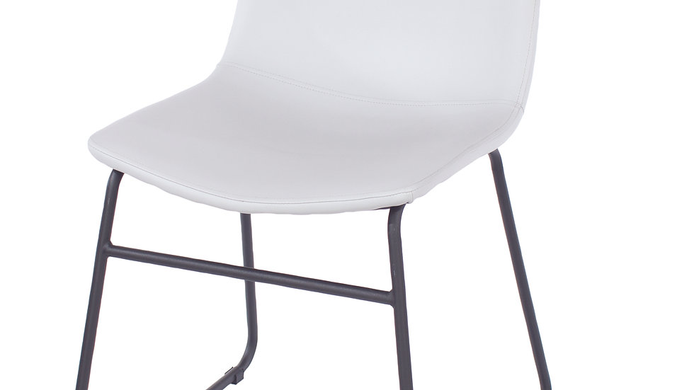 grey PU upholstered dining chairs with black metal legs