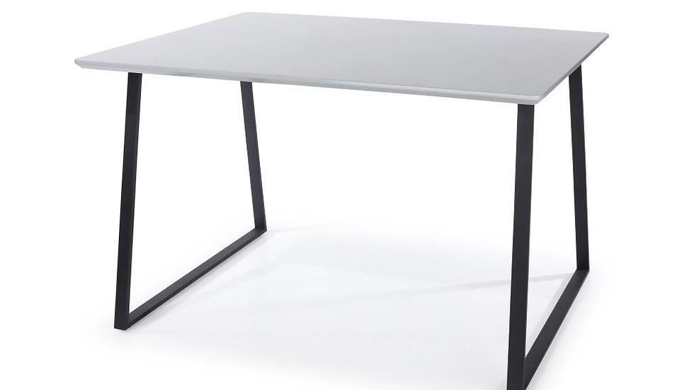 rectangular table with black metal legs, high gloss grey