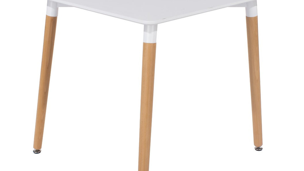 square table with wooden legs, white