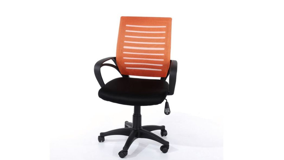Study chair with Arms and Orange Mesh Back