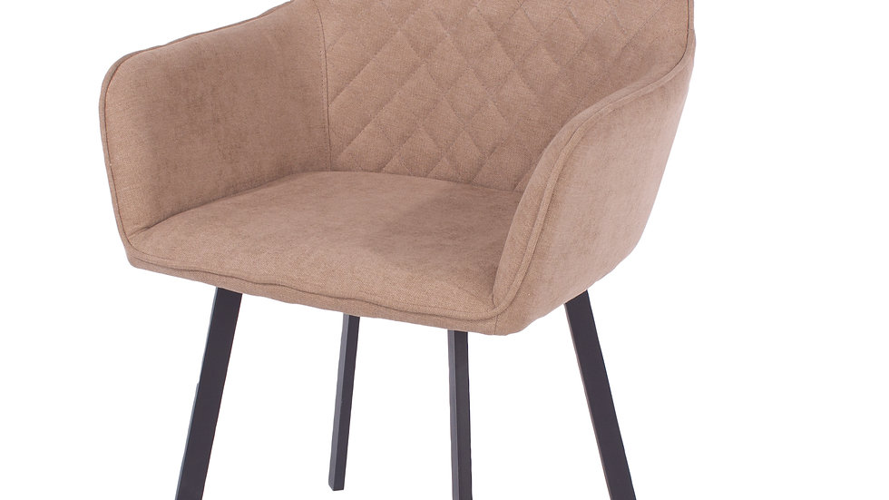 sand fabric upholstered armchairs with black metal legs