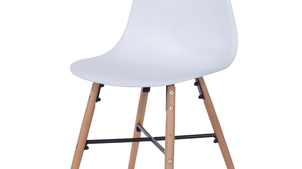 white plastic chairs with wood legs & metal cross rails