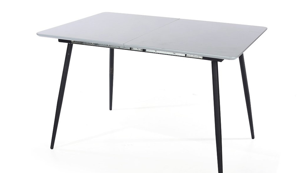 rectangular exttending table with metal legs, high gloss grey