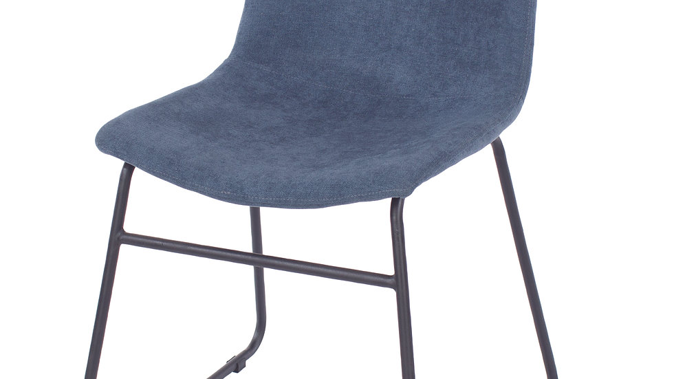 blue fabric upholstered dining chairs with black metal legs