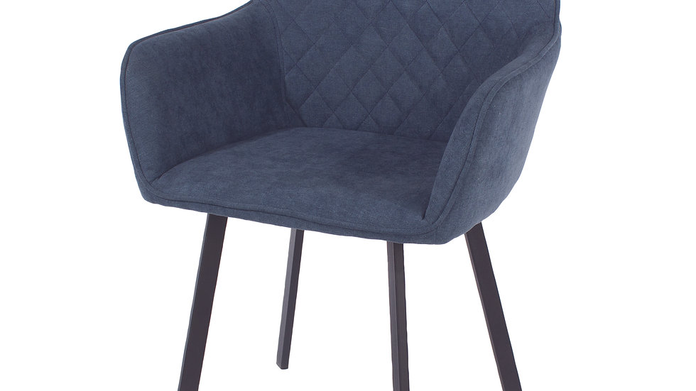 blue fabric upholstered armchairs with black metal legs