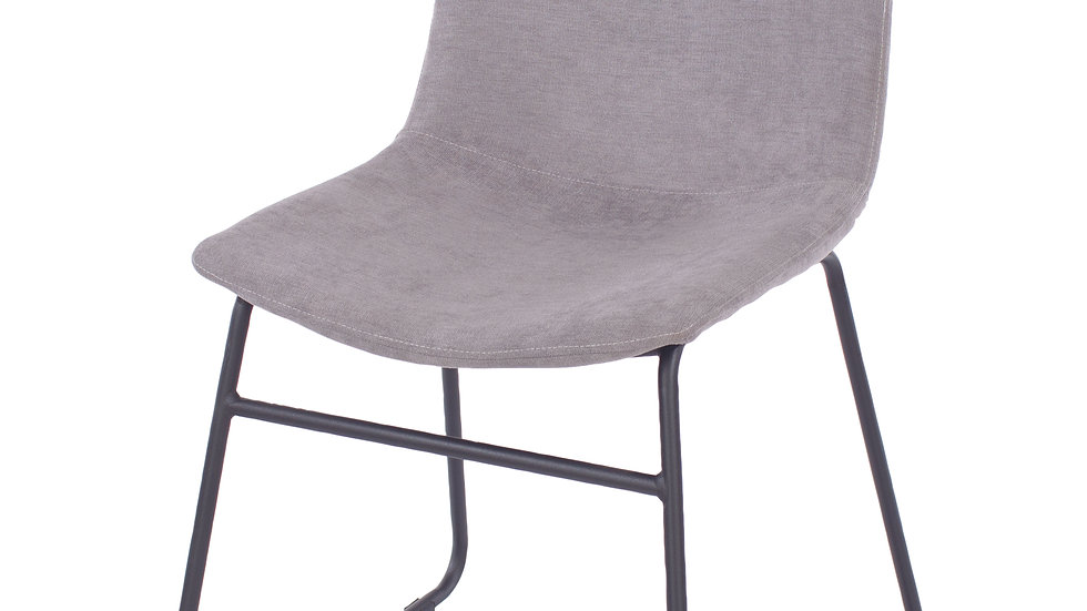 grey fabric upholstered dining chairs with black metal legs