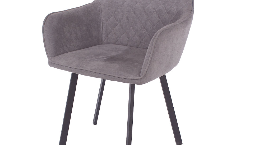 grey fabric upholstered armchairs with black metal legs