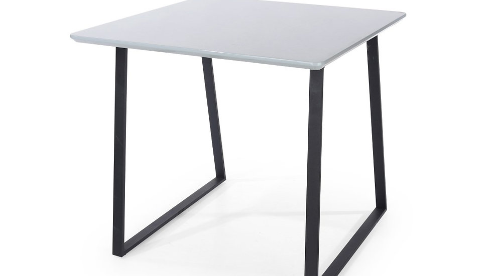 square table with black metal legs, high gloss grey