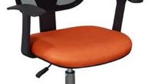 Home Office Chair Black Mesh Back and Orange Fabric Seat