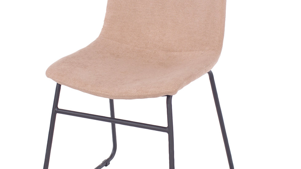 sand fabric upholstered dining chairs with black metal legs