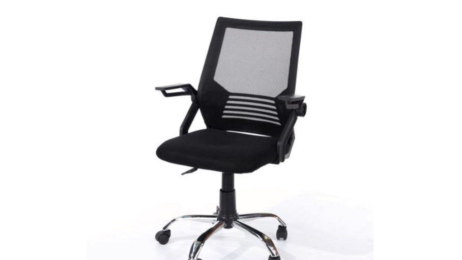 Study Chair With Arms and Black Mesh Back