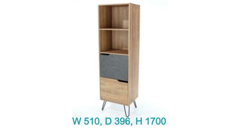 Manhattan Tall Bookcase With 2 Drawers