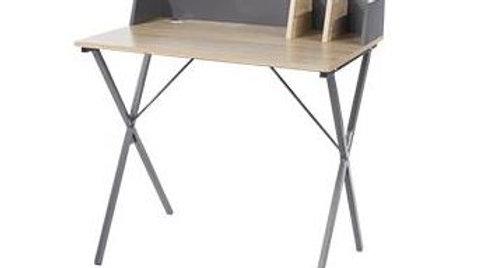Study Desk Oak Effect Top With Grey Metal Cross Legs