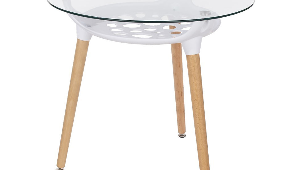 round clear glass top table with white plastic underframe & wooden legs