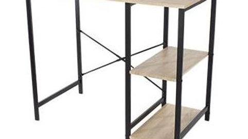 Study Desk With Side Storage. Oak Effect Top with Black Metal Legs