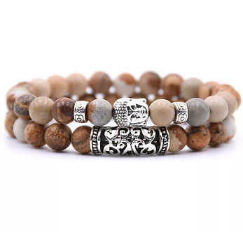 Natural stone Buddha bracelet set
