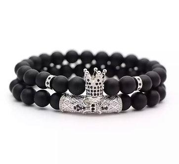 2pc Crown double beard bracelet