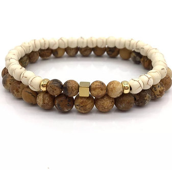 2pc natural brown & gold bracelet