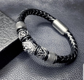 Silver Lion with leather band