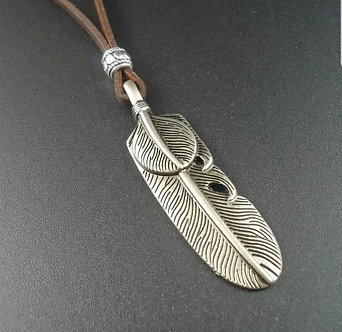 Leather with feather pendant