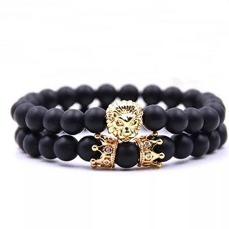Double Crown with Lionhead bracelet set