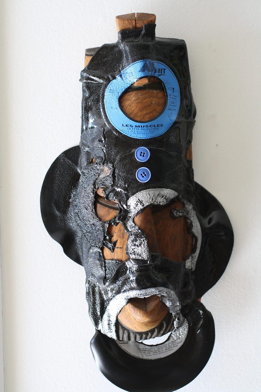 Masque bois vinyles et boutons- 2017-Hulipa art