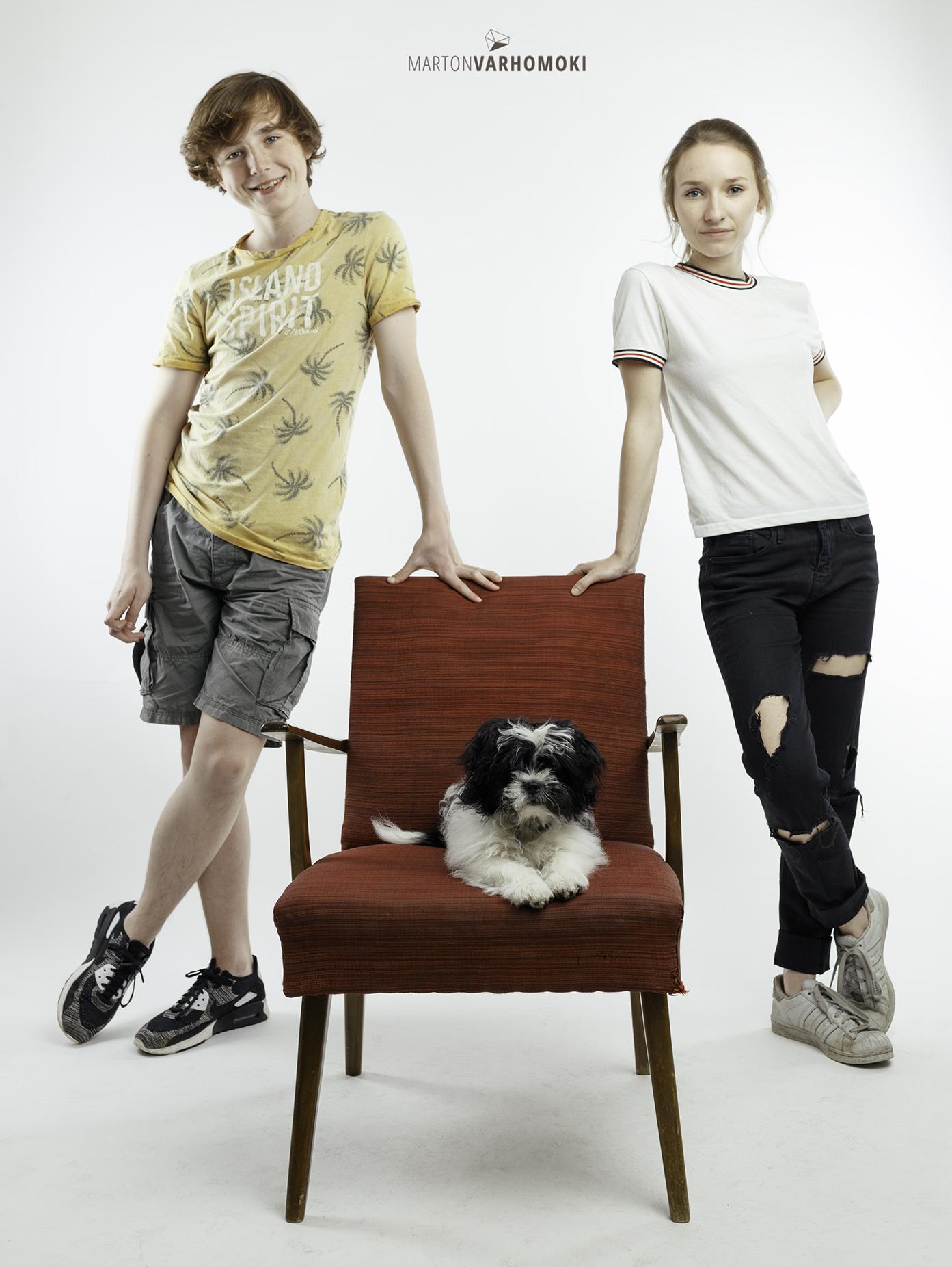 Hund Sitzt modell weißen hintergrund