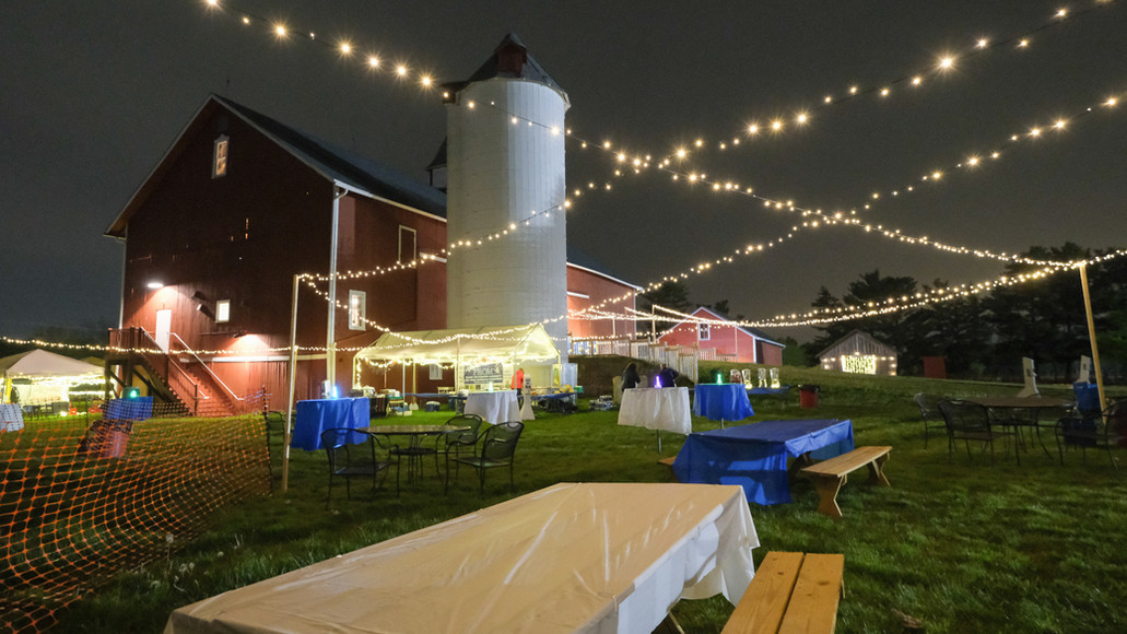 Outdoor picnic tables utilized with strings of lights for lighting