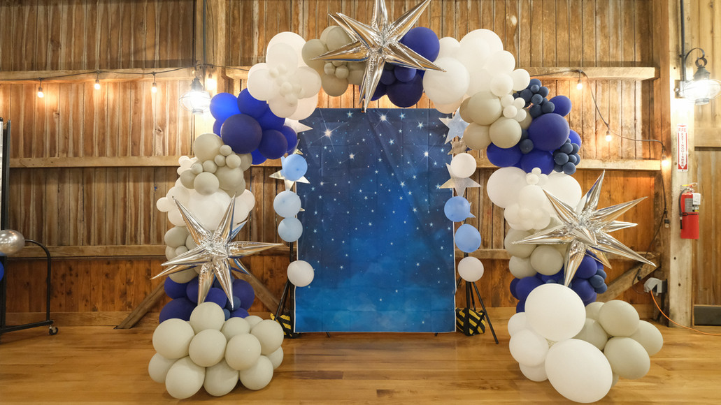 Balloon arch with photo backdrop