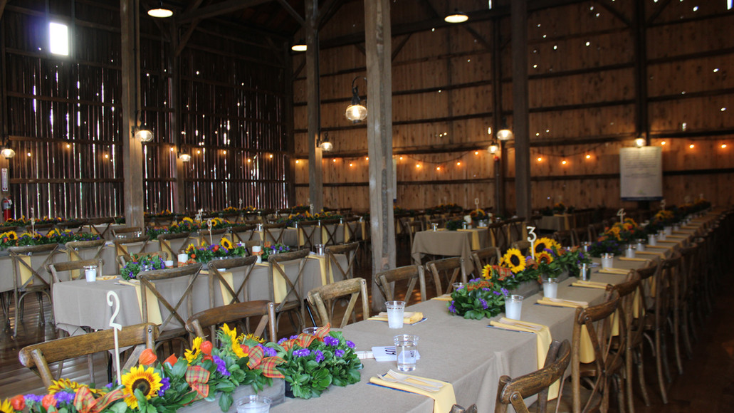 Beautiful tables set for a private event at Case Barlow Farm