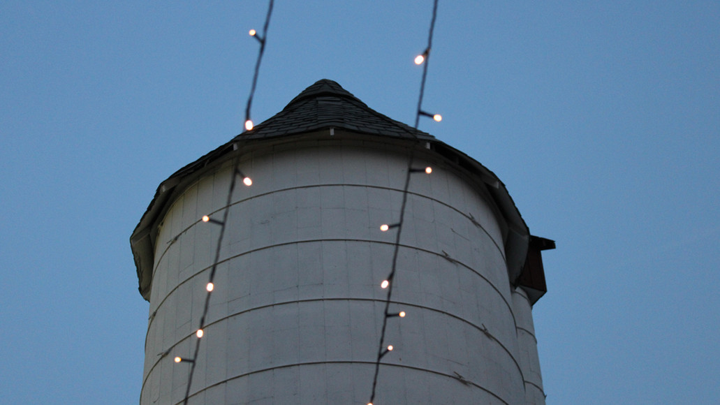 Historic Case Barlow Farm Silo with twinkling lights