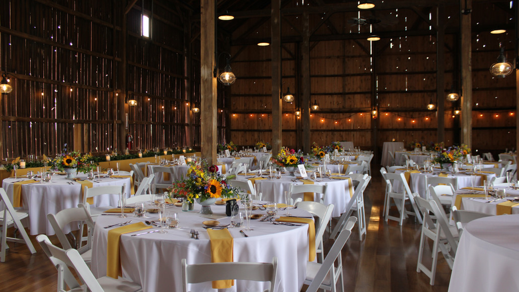 Dining Tables set for a June Wedding at Case Barlow Farm