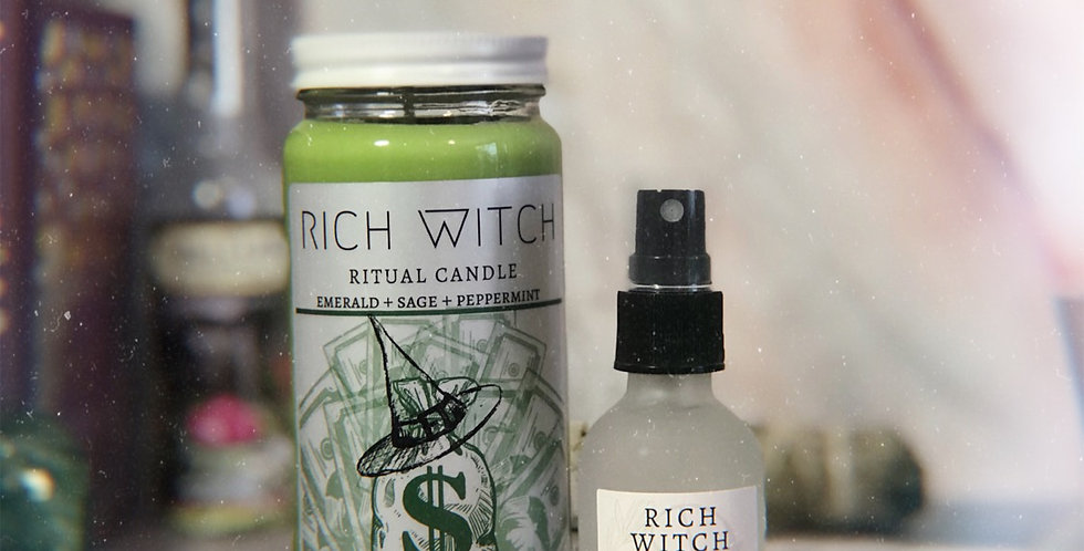 Rich Witch Candle + Spray Set