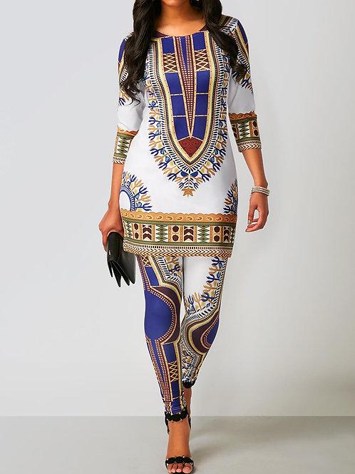Dashiki Print Top and Ankle Length Pants