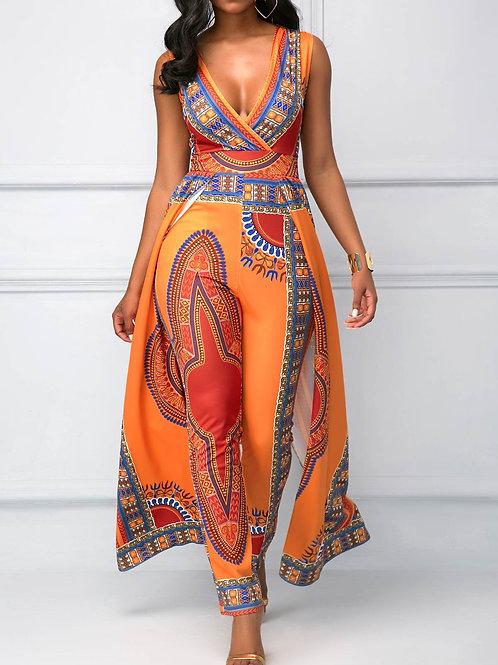 Orange Overlay Embellished Dashiki Print V Neck Jumpsuit