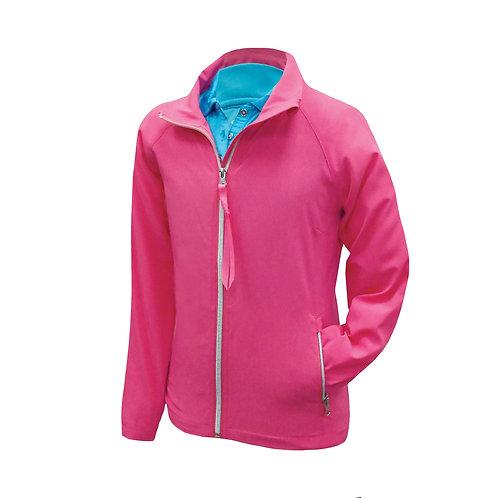 April - Pinke Jacke mit Reißverschlüssen und mehrfarbiger Rückenpartie
