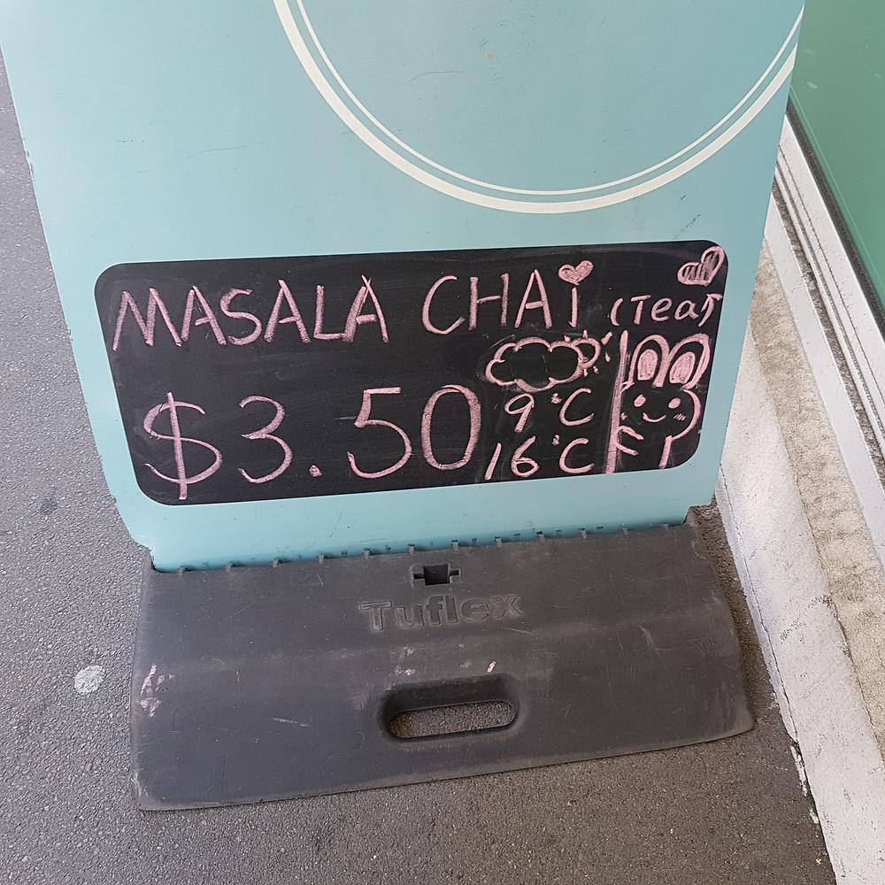 Sign advertising chai tea
