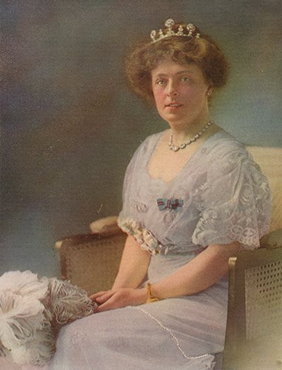 Portrait of Lady Liverpool in formal Edwardian gown