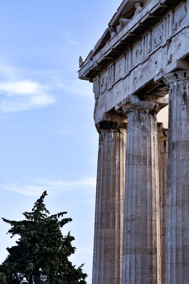 Three pillars on a temple in Athens