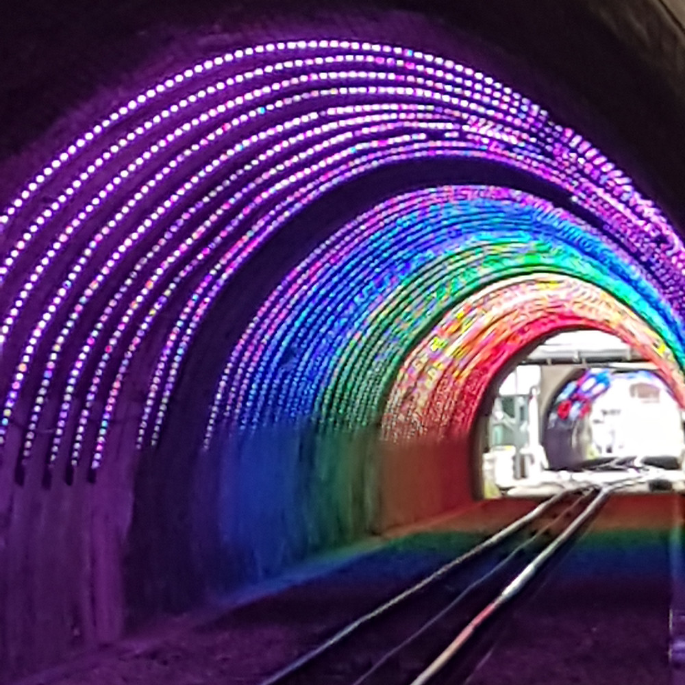 Rainbow lights in cable car tunnel