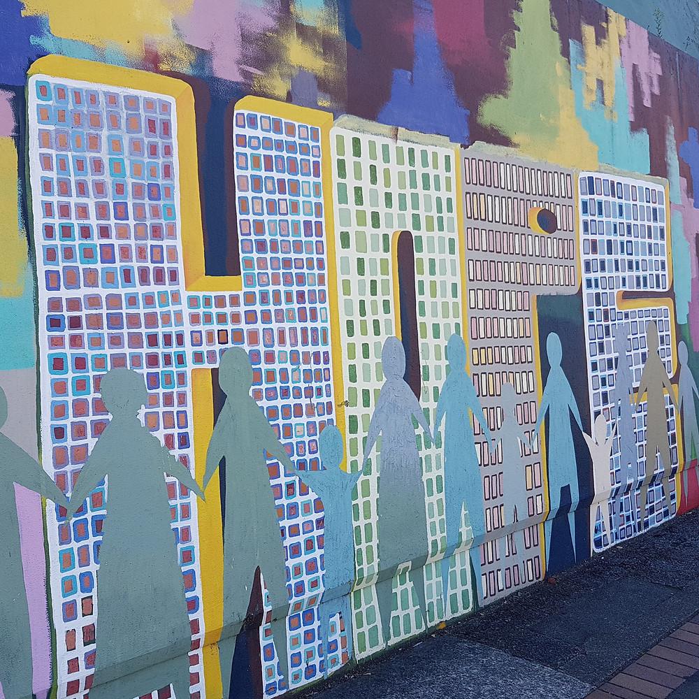 Street art mural that says 'hope'