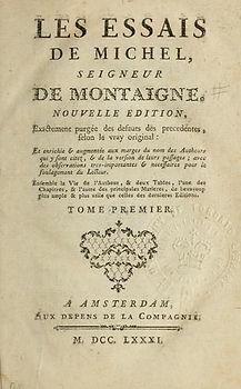 "Montaigne, ""Essais"", frontispice."