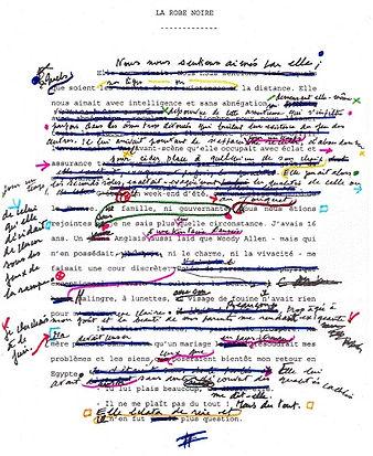 """A. Chédid, manuscrit de """"La Robe noire"""", incipit."""