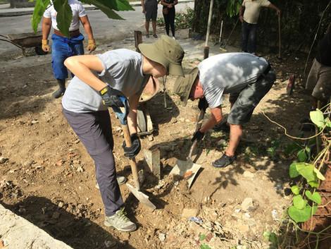 Hard at work preparing the site for a garage church