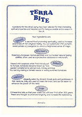 Blue risograph print ingredients card for Terra Bite